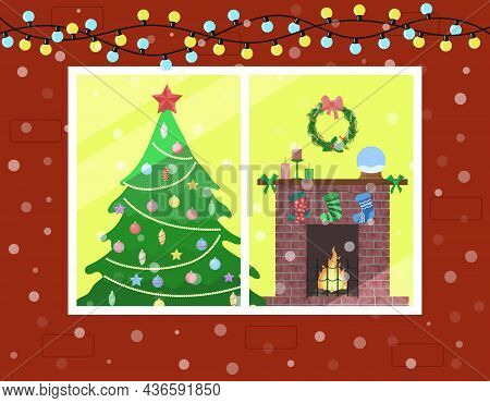 Christmas Interior. Outside View Of Room In Window From Street. Christmas Tree And Fireplace Decorat