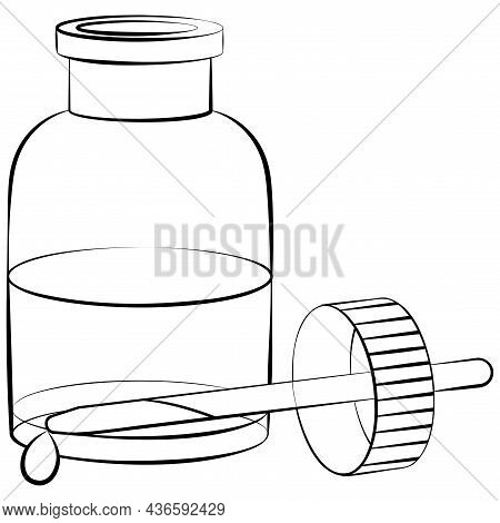 Essential Oil Vector Monochrome Linear Illustration. Herbal Essence For Aromatherapy. Organic Plant