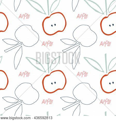 Childish Apples With Leaf Hand Drawn Sketch Seamless Pattern. Linear Fruit With Seeds. Natural Color