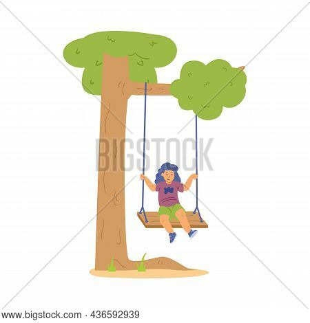Cute Girl Sitting On Swing In Flat Vector Illustration Isolated On White