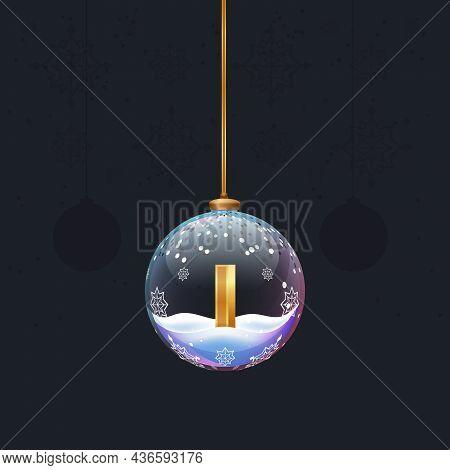 New Year Alphabet Letter In Glass Christmas Toy. Golden 3d Letter I Inside. Decoration Element For D