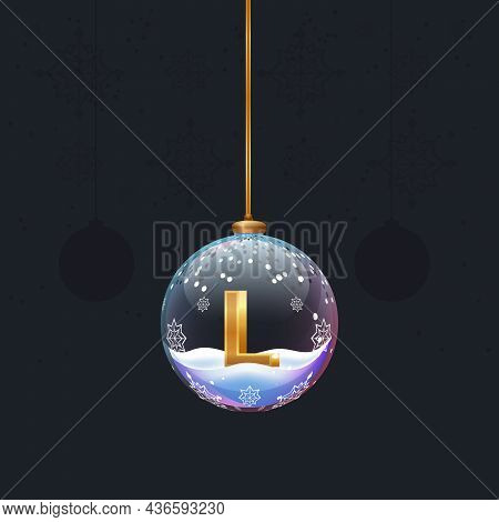 Christmas Toy Ball With A Golden 3d Letter L Inside. New Year Tree Decoration. Element For Design Ba