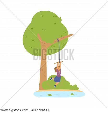 Cute Girl Swinging On Bungee Tied To Tree Branch In Summer Park In Flat Vector