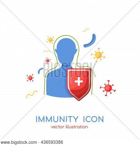 Immunity Icon. Immune System Logo, Protection From Germs. Organism Reflect Virus Attack With Protect