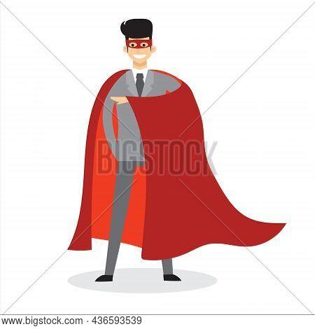 Businessman Superhero. Office Worker In Action Superhero Poses, Superhero Male Character In Red Cloa