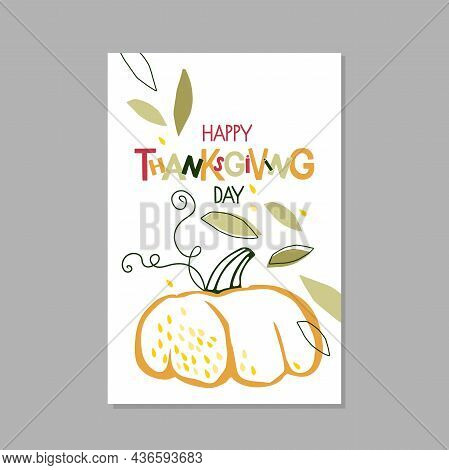 Happy Thanksgiving Day Postcard. Trendy Abstract Nature Design With Pumpkin And Falling Leaves. Autu