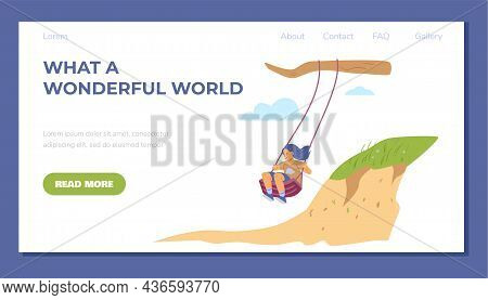 Web Banner With Cute Girl Sitting On Swing In Flat Vector Illustration