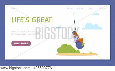Banner Template With African Boy Swinging Bungee In Park Or Nature In Flat Vector