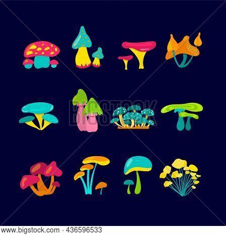 A Set Of Fabulous Mushrooms. Bright, Fantastic Mushrooms For Application Or Clip Art. Cartoon Ingred