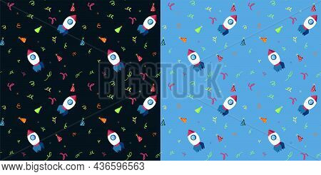 Set Of Seamless Patterns With Cartoon Rockets, Birthday Party Hats And Confetti. Funny Childish Back