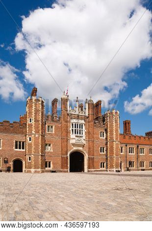 London, Uk - July 22, 2011. Hampton Court Palace. Entrance Gate At Front Of The Palace