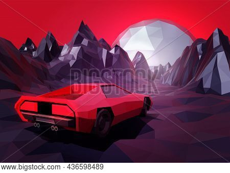 80s Retro Sci-fi Design. Low Poly Vector Illustration Of Supercar In Mountains Lanscape And Big Chro