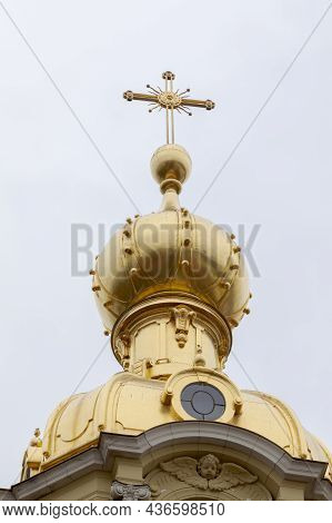Gilded Dome With A Cross Of The Orthodox Cathedral. Dome Of The Grand Ducal Burial Vault Of The Pete