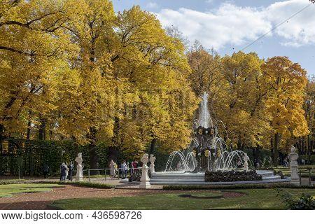 Saint-petersburg. Russia. September 30, 2021. Fountain In The Summer Garden Of St. Petersburg. Sunny