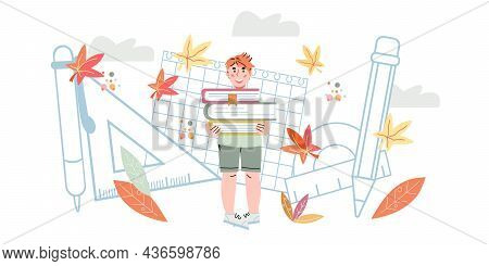 Cute Schoolboys Against Backdrop Of School Supplies And Stationery. Back To School Banner Backdrop.