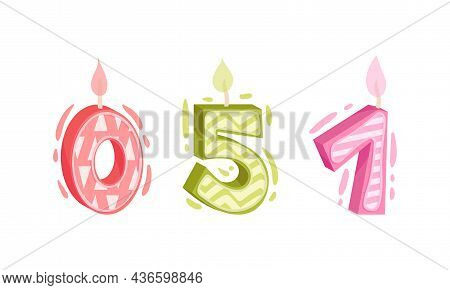 Zero, Five, One Birthday Candles Set. Anniversary Party Candle Cartoon Vector Illustration