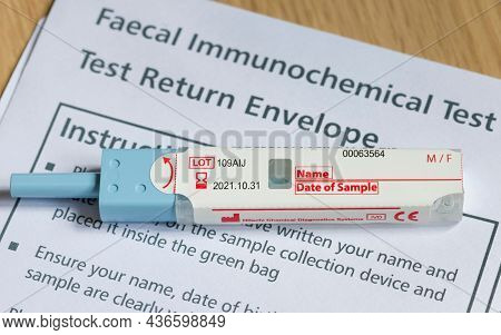 Uk - April 21, 2021. Closeup Of Fit Test (faecal Immunochemical Test), A Fecal Occult Blood Test For