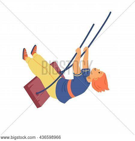 Childish Character Swinging High On Swing, Flat Vector Illustration Isolated.