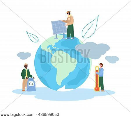 Environment Conservation And Global Warming Banner, Flat Vector Illustration.