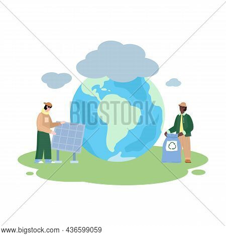 Reducing Effect Of Global Warming Banner Flat Vector Illustration Isolated.