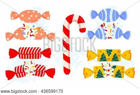 Set Of Christmas Crackers And Candy In Colorful Wrappings On White Background. Festive Cute Cracker