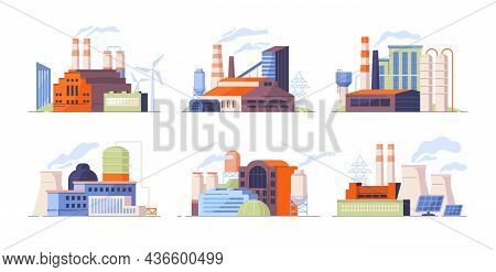 Set Of Factory Buildings. Power Plants With Devices For Generating Energy. Various Ways Of Obtaining