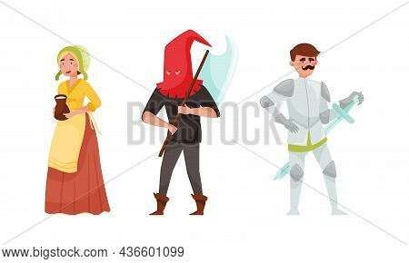 Medieval People Set. Peasant Woman, Executioner, Knight European Middle Ages Historical Characters C