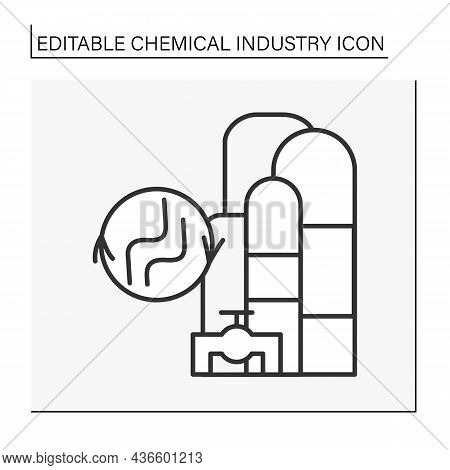 Gas Processing Line Icon. Processes To Purify Raw Natural Gas For Using. Chemical Industry Concept.