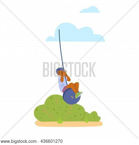 Cute Little Boy Playing On Bungee Swing, Flat Vector Illustration Isolated.