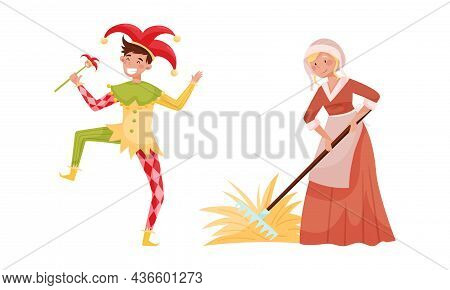 Medieval People Set. Peasant Woman And Jester European Middle Ages Historical Characters Cartoon Vec