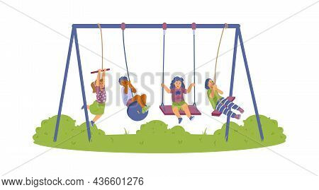 Happy Kids Swinging On Swing, Bungee In Park At Playground In Flat Illustration