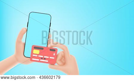Banner With Concept Of E-payment Or Online Payment. Hands Hold Smartphone And Debit Or Credit Card A