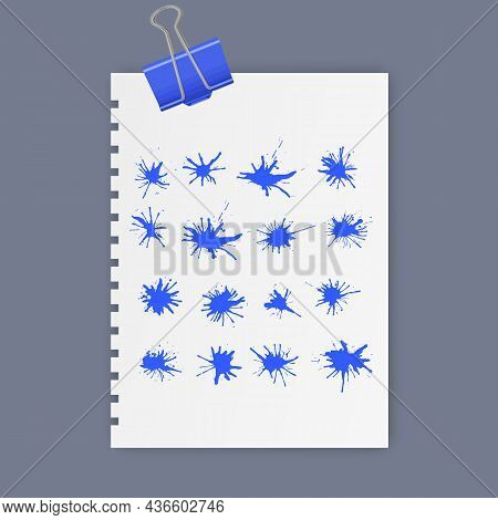 Set Of Ink Blots Of Blue Color, Ink Drops Vector Illustration