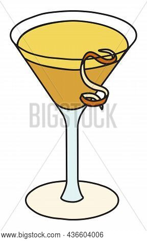 Bronx Classic Vintage Cocktail In Martini Glass. Gin And Vermouth Based Yellow Drink Garnished With