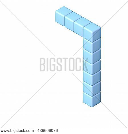 Blue Cube Orthographic Font Number 1 One 3d Render Illustration Isolated On White Background