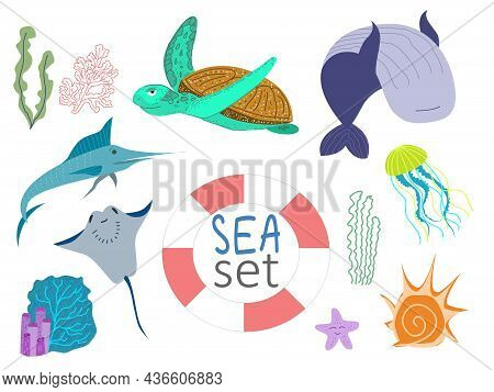 Set Of Vector Illustrations On The Marine Theme. Sea Turtle, Sawfish, Stingray, Jellyfish, Whale. Pr