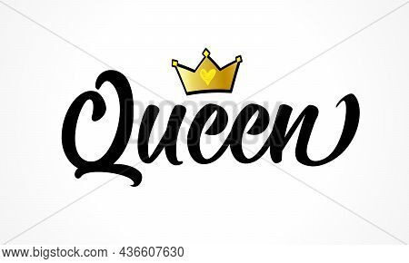 Queen Crown Vector Calligraphy Design. Text Inscription