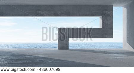Abstract Empty, Modern Concrete Room With Opening With Ocean View, Abstract Divider Wall And Rough F
