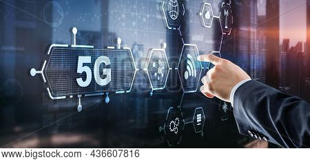 5g Network Wireless Internet Concept. Man Touching 3d Icon 5g
