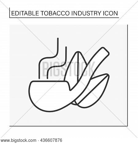 Smoking Pipe Line Icon. Metal Or Wood Pipe For Smoking Tobacco Dried Leaves.tobacco Industry Concept