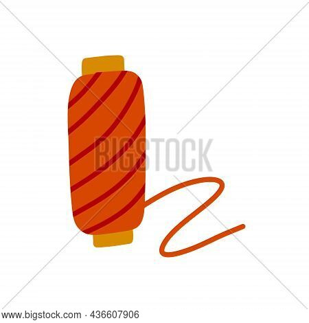 Spool Of Thread. Sewing Tools And Hobbies. Flat Illustration Isolated On White