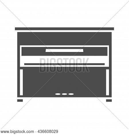 Classic Piano Monochrome Icon Vector Illustration. Simple Logo Classical Musical Instrument
