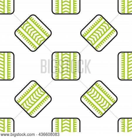 Line Tire Track Icon Isolated Seamless Pattern On White Background. Vector