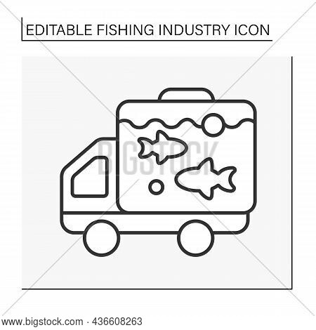 Transporting Fish Line Icon. Transporting Fish In Freshwater For Buying Alive. Fishing Industry Conc