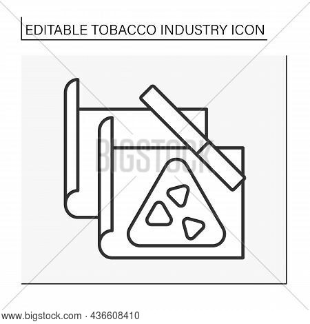 Cigarette Paper Line Icon. Special Paper For Homemade Or Roll-your-own Cigarette.tobacco Industry Co