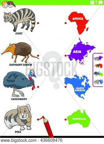 Cartoon Illustration Of Educational Matching Game For Children With Animal Species Characters And Co