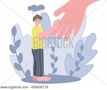 The Human Hand Helps A Man Overcome Depression. The Concept Of Helping People In A Depressed State,