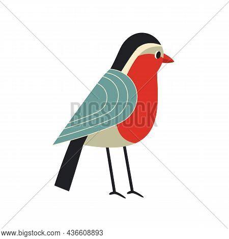 Cute Comic Robin Bird Simple Vector Icon. Winter Birds Of City Garden, Backyard Cartoon Design Eleme