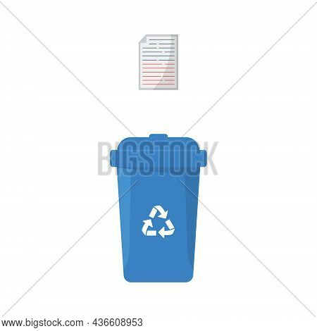 Dustbin Container Or Recycle Bin For Paper And Cardboard. Plastic Bin For Trash Separation On White