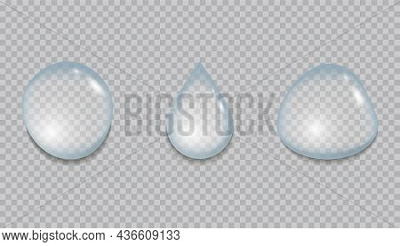 Realistic Drops Water Set On Transparent Background. Clear And Fresh Water Drops. Collection Of Pure